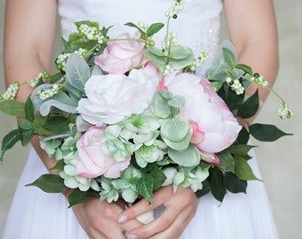 Blush Pink White Ivory Mint Bouquet, Silk Flower Bridal Bouquet, Wedding Flowers, Bride Bouquet, Roses, Lamb's Ear, Pastel Bouquet, Peony