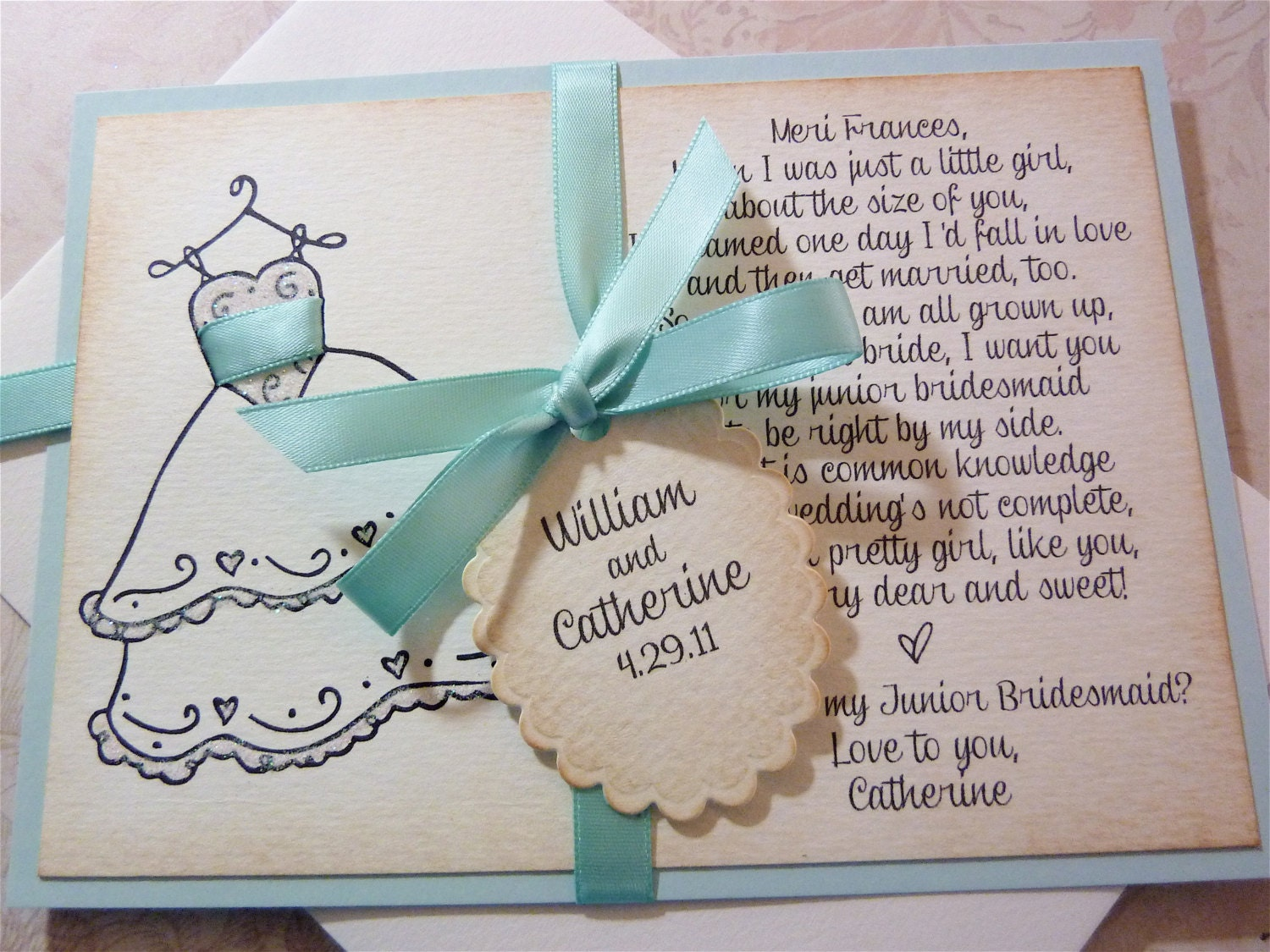 Will you be my Junior Bridesmaid Invitation Personalized Card