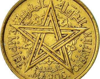 morocco mohammed v franc 1945 paris au(50-53) aluminum-bronze km41