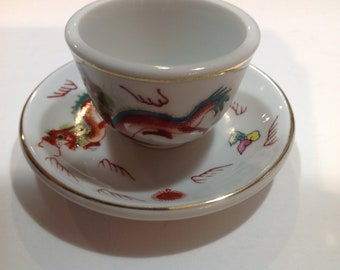 Hand Painted Tea Cup and Saucer, Made in Japan