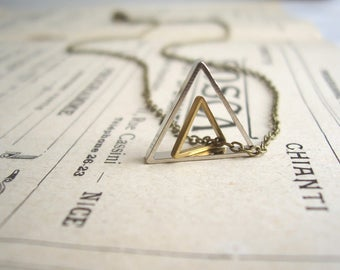 Double Triangle charm necklace - geometric mixed metals on brass - minimalist jewellery