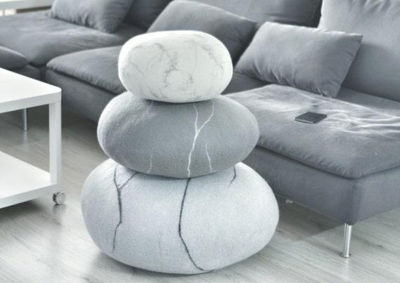 Floor pillows Pouf Ottoman Floor cushions Felted Wool