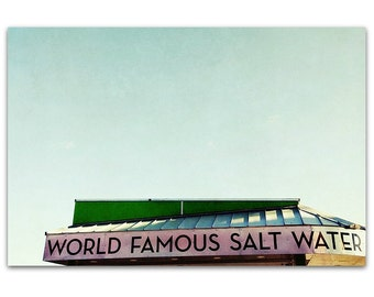 Beach Art // Mid Century Modern //  Santa Cruz Boardwalk - Salt Water, original 16x24 photograph