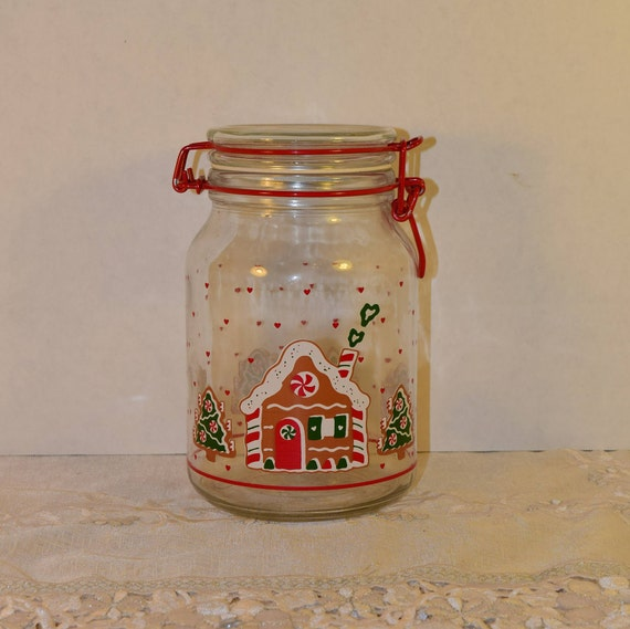 Anchor Hocking Christmas Jar Vintage Gingerbread House Canister CHD Swing Top Bale Jar Christmas Collectible Gift Holiday Collection