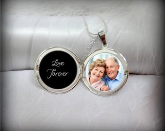 Locket Photo inserted for you under glass - Love Forever locket necklace