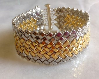 Artisan Handmade Beadwoven Nickel and 24kt Goldplated Beads, Silver Beads Statement Bracelet--Isabella--by Lady Grey Beads