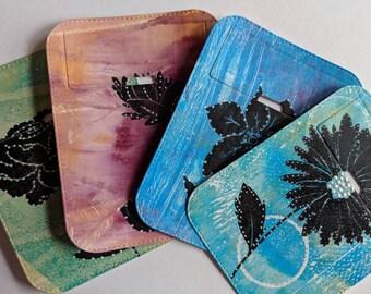 Small tuck-it pocket - dotted flower theme set of 4 - for art journal, travel journal, junk journal, smash journal, planner, mixed media