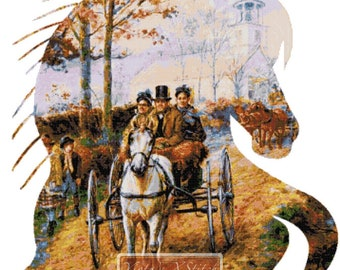 Carriage ride v2, horse counted cross stitch kit