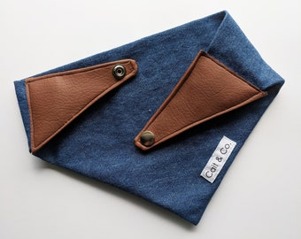 Dog Bandana, Jean and Leather with a Snap Button