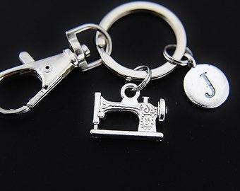 Sewing Machine Charm Keychain Sewing Machine Keyring Seamstress Keychain Dressmaker Tailor Gift Personalized Keychain Initial Keychain