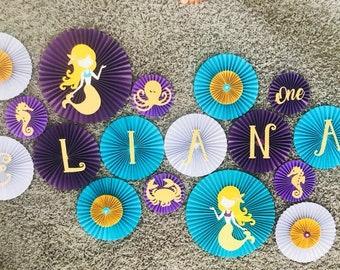 Under the sea, mermaid fans/ backdrop fans/ little mermaid fans/ rosettes