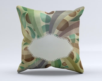 The Vintage Swirled Stripes with Name Tag ink-Fuzed Decorative Throw Pillow
