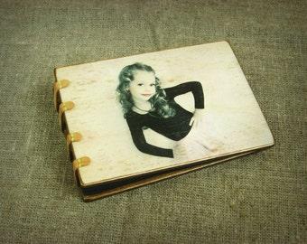 Personalised Wooden Photo Album - Coptic Stitched - Modern Stylish Book - Wooden Scrapbook Album - Family Photo Album - Handmade Photo Album