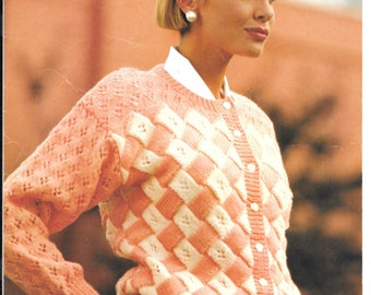 Patons original knitting pattern dated 1989 - double knitting - to fit sizes 32-42 inch chest.