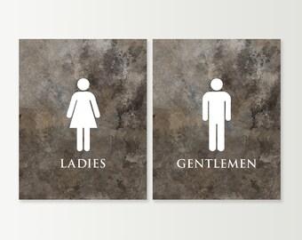 His Hers Bathroom Signs. Bathroom Decor Bathroom Art Prints Set Unique La S And Gentlemen Bath Wall Art Men And Women Restroom Signs His Hers Blue Charcoal