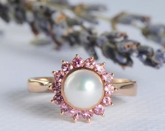 Pearl Engagement Ring Rose Gold Wedding Women Antique Unique Halo Pink Tourmaline Bridal Flower Floral Anniversary Gifts For Her Promise