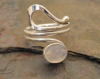 MADE TO ORDER - Forged Loop Wrap Ring with Rainbow Moonstone