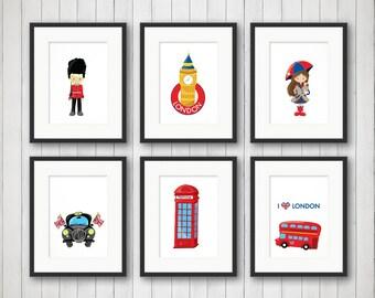 London Wall Art - London Decor - Boy or Girl Room Decor - Children's Iconic Decor - Nursery prints - London Pride - 4x6, 5x7 or 8x10 Prints
