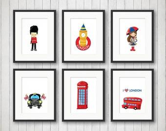 London Wall Art   London Decor   Boy Or Girl Room Decor   Childrenu0027s Iconic  Decor   Nursery Prints   London Pride   4x6, 5x7 Or 8x10 Prints