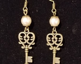 Steampunk Pearl and Key Earrings