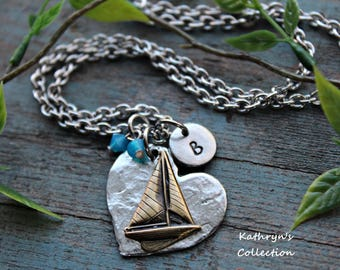 Sailboat Necklace, Sailing Jewelry, Nautical, Sailor, Love to Sail