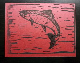 Swimming Salmon - block printed postcard