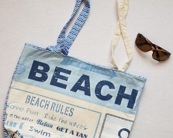 Beach Rules Tote - Beach Bag - Blue Beach Bag - Anchor Beach Tote - Pool Accessory - Summer Accessory - Pool Bag - Cuddles and Keepsakes