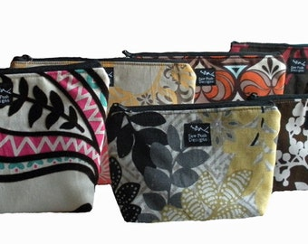Design Your Own Cosmetic Make Up Bag Small Medium Zipper Pouch Choose Fabric Washable Waterproof Lining