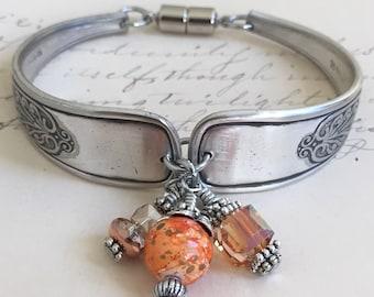 Spoon Bracelet ~ASSYRIAN~ 1889            Silverware Jewelry, Recycled, Handmade