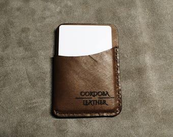 Three Pocket Minimalist Wallet  - Brown
