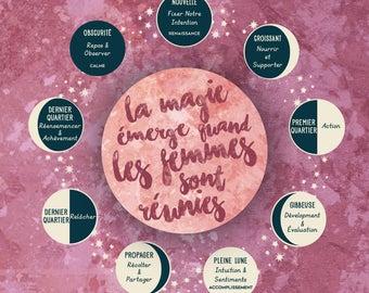 French Edition: Moon Phase & Lunar Cycle Art Print // La magie émerge quand les femmes sont réunies