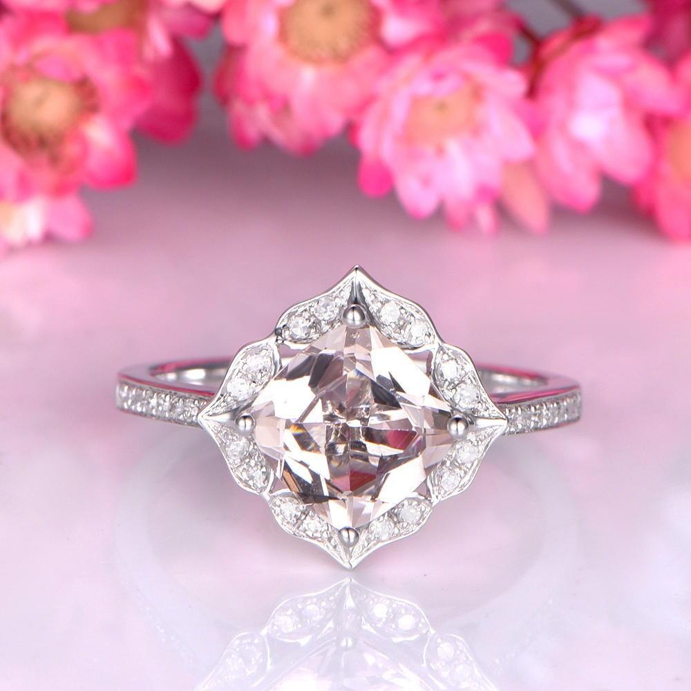 Floral morganite engagement ring 7mm cushion cut morganite