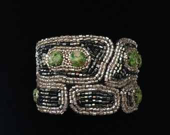 Gaudi inspired bead embroidery cuff bracelet.