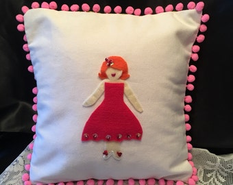 Decorative Pillow Cover ~ 12 inch square Pillow Cover~ Pom poms & Beads ~ Felt Design in Middle ~ Pink Pom poms ~ Vintage