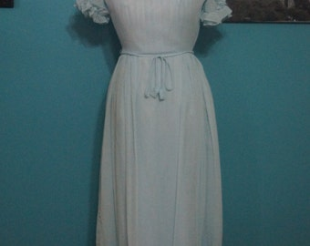Vintage Pale Blue Maxi with Ruffles (No Label)