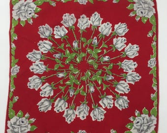 """Vintage Red Handkerchief with Blue Roses. 12"""" by 13"""""""