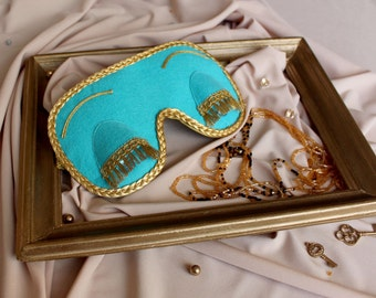 Sleep mask in Tiffany and CO blue color.Gift for women.Breakfast at Tiffany's and Audrey Hepburn in role of Holly Golightly sleeping mask