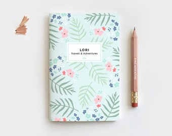 Travel Journal Mint Floral Personalized Journal & Pencil Set, Midori Insert - Illustrated Palm Leaf Floral Notebook Stocking Stuffer