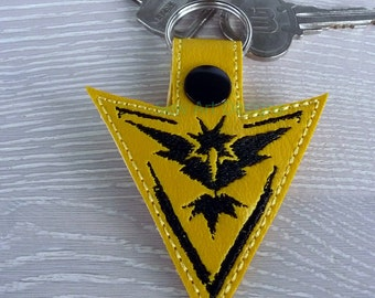 Pokemon Go, Embroidered, Yellow, Team, Instinct, Key Chain, Key fob
