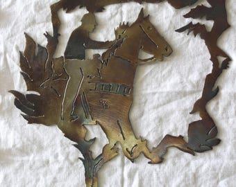 Bronze Metalwork Horse and  Rider Western Decor, Signed, Equestrian Gift