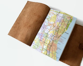 Map Gifts, Chicago Gifts, Personalized Travel Journal Leather, Chicago Map Journal Travel Notebook, Adventure Book, Map Notebook, Golden 4x6