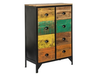 Rustic 8 Drawer Wooden Iron Chest Cabinet Bedroom Storage Chest of Drawers