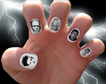 Classic Horror Movie Monsters // Frankenstein // Halloween // Dracula //  Nail Decals Transfer Nail Stickers //