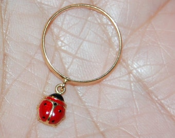 18K Solid Yellow Gold Ring Band Size 5 Lady Bug Red Black Dangle Enamel