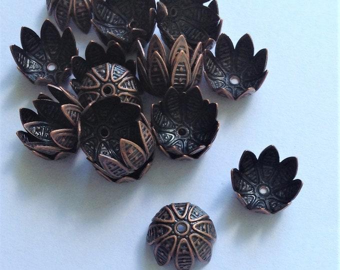 Bead Cap, 10mm, Antique Copper - 10 Pieces (BCBAC-05)