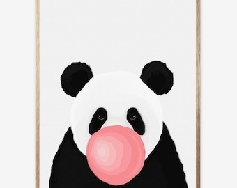 Panda Print, Nursery Animal Wall Art, Kids Room Printable Instant Digital Download, Pink Bubble Gum, Panda Decor, Modern Minimalist 16x20