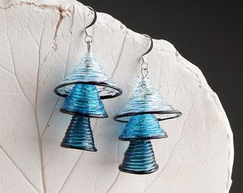 Light and dark blue bells lampwork earrings, dangle earrings, glass earrings, light blue earrings, dark blue earrings, transparent earrings