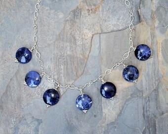 Sodalite Necklace, Blue Stone Necklace, Navy Blue Necklace, Statement Necklace, Natural Stone Necklace, Sodalite Jewelry, Beaded Necklace