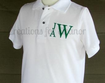Boys Monogrammed Polo Shirt, Boys Pique Polo, Boys Monogram Shirt, Boys Polo Shirt