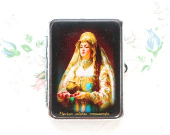 Vintage Pill Box with Sections - Russian Fedoskino Princess